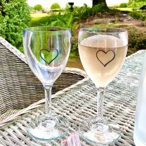 A Pair of Heart 11 oz Wine Glasses