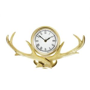 At Home in the Country - Antlers Brass Finish Wall Clock