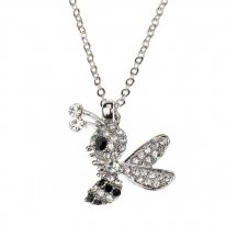 Bee Necklace with Clear Stones