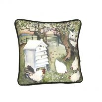 Bees & Chickens In Orchard Cushion