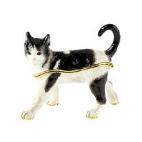 Black and White Cat Enamel Box