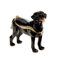 Black Labrador Jewelled Enamel Box