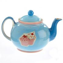 Blue Teapot with Cupcakes