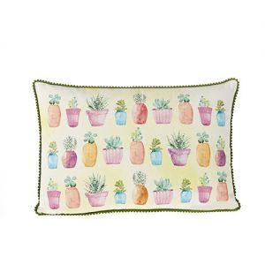 At Home in the Country - Cacti in Pots 100% Cotton Cushion