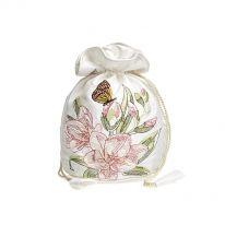 Embroidered Drawstring Bag - Cream