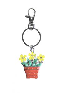 Enamel Flower Pot Keyring