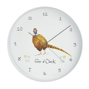At Home in the Country - Gin O'clock Wall Clock