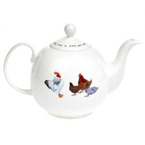 """At Home in the Country - """"Girls Just Want to Have FUN!"""" Hens Six Cup Teapot"""
