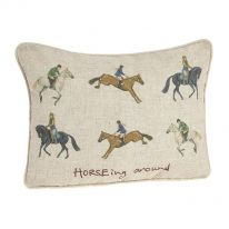 Horseing Around Linen Mix Cushion
