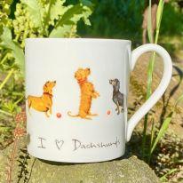 """I LOVE Dachshunds""  Fine Bone China Mug"