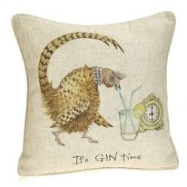 """It's Gin Time"" Linen Mix Cushion - Large"
