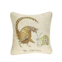 """It's Gin Time"" Linen Mix Cushion - Small"