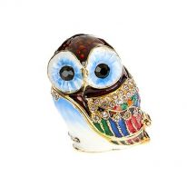 Jewelled Enamel Baby Owl Box