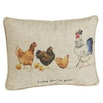 Ladies Form a Queue Linen Mix Cushion