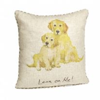 "Large ""Lean on Me!"" Linen Mix Cushion"