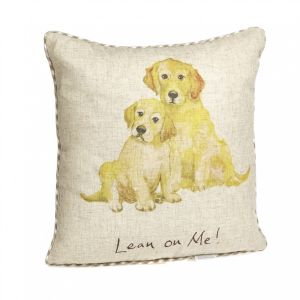"""At Home in the Country - Large """"Lean on Me!"""" Linen Mix Cushion"""