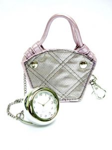 At Home in the Country - Little Designer Handbag with clock - pearly pink and white