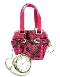 Little Designer Handbag with clock - pink lizard