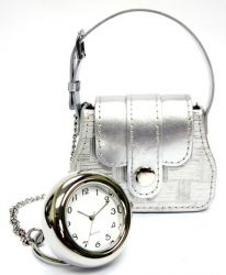 Little Designer Handbag with clock - simply silver