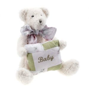 """At Home in the Country - """"Lucy"""" Bear with cushion"""