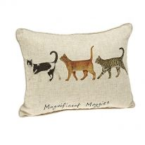 """Magnificent Moggies"" Linen Mix Cushion"