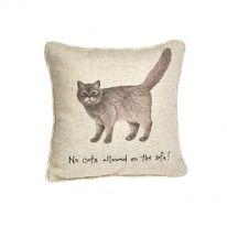 """""""No Cats Allowed on the Sofa!"""" Linen Mix Cushion"""