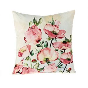 At Home in the Country - Pale Pink Poppies 100% Cotton Cushion