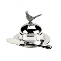 Pheasant Round Butter Dish and Spreader