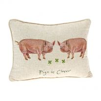 """Pigs in Clover"" Linen Mix Cushion"