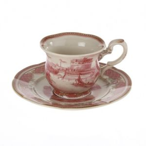 At Home in the Country - Pink Water Scene Cup and Saucer