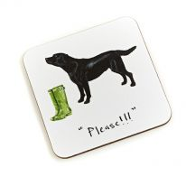 """Please""!"" Black Labrador Coaster"