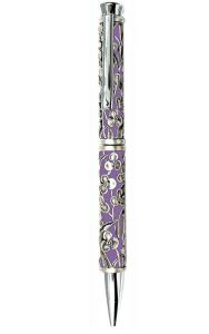 Purple Ballpoint Pen with Orchids