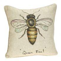 """""""Queen Bee!"""" Linen Mix Cushion"""