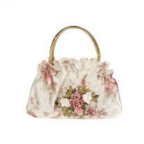 Ribbon Embroidered Cream Bag with Gold Handle