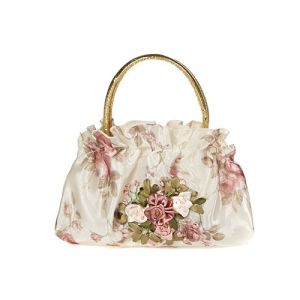 At Home in the Country - Ribbon Embroidered Cream Bag with Gold Handle
