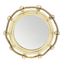 Round Brass Finish Mirror with Rope