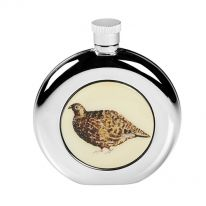 Round Grouse Hip Flask