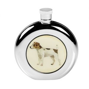 At Home in the Country - Round Jack Russell Hip Flask