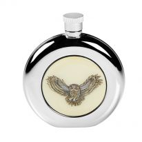 Round Owl Hip Flask