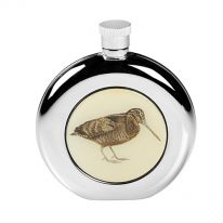 Round Woodcock Hip Flask