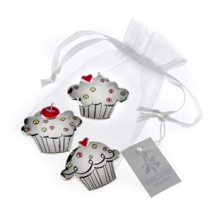 "At Home in the Country - Set of 3 ""Cupcake"" Charms"