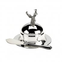 Stag Round Butter Dish and Spreader