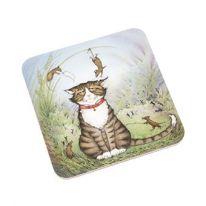 Tabby Cat with Mice Coaster