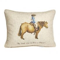 """""""The Best View is from a Pony!"""" Linen Mix Cushion"""