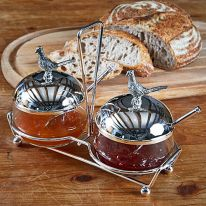 Twin Pheasant Jam Pots and Stand