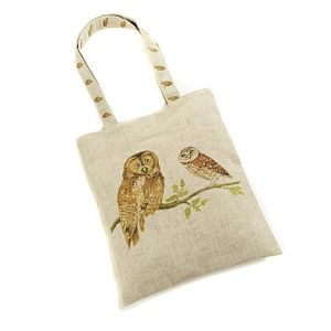 At Home in the Country - Two Owls Linen Mix Bag