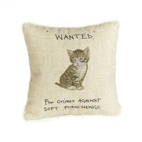"""Wanted"" ""For Crimes Against Soft Furnishings"" Linen Mix Cushion"