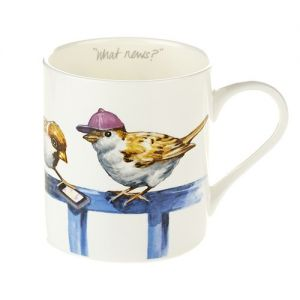 """At Home in the Country - """"What News?"""" Fine Bone China Mug"""