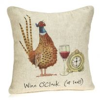"""Wine O'Clock (At Last!)"" Linen Mix Cushion - Large"