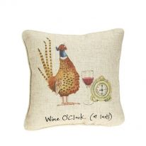 """Wine O'Clock (At Last)!"" Linen Mix Cushion - Small"